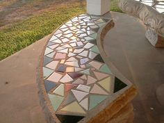 cement bench with mosaic tiles, tabletop