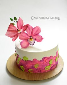 Edible wafer paper Cymbidium Orchid adorned whipped cream frosted cake - Cake by Thasni mariyam wahid