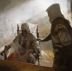 Assassin's Creed II: Revelations - Ezio Meets Altair. A beautiful moment captured in moving oil paints.