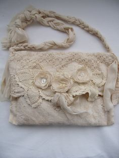 Tattered Victorian Bag French Bridal country Crochet Doily purse Romantic Vintage style Creams tea stained Upcycled Vintage finds