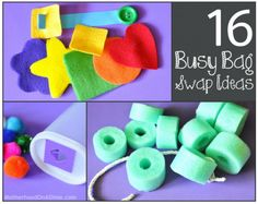 My friend, Stacie, from Motherhood on a Dime, has put together 16 simple Busy Bag Ideas perfect for a local Busy Bag Swap. You can find more Busy Bag Ideas here.