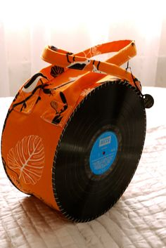 Vinyl up-cycled handbag with ikea orange black and white canvass fabric by watermeadboutique, £30.00