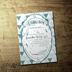 Arctic animals winter baby boyshower invitation. Narwhal and seal illustration