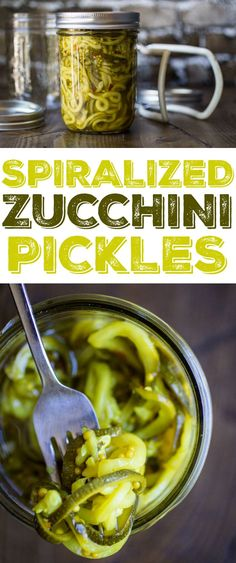 Delicious spiralized zucchini pickles - Zucchini pickles are the perfect way to use up extra produce – spiralizing makes it even more fun! Zucchini Pickles, Pickled Zucchini, Canning Zucchini, Zucchini Chips, Spiralizer Recipes, Fermented Foods, Canning Recipes, Fruits And Veggies, Vegetable Recipes