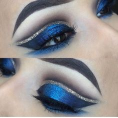 Blue and silver cut crease make up awaited in 2019 eye makeup. Silver Eye Makeup, Silver Eyeshadow, Glitter Eye Makeup, Eye Makeup Tips, Smokey Eye Makeup, Eyeshadow Makeup, Brown Eyeliner, Eyeshadow Pigments, Gel Eyeliner