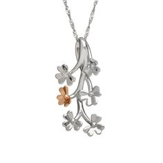 Diamond set 9ct white gold Love Shamrock spray pendant #houseoflor #irishjewelry #irishgold #pendant #whitegold #rosegold