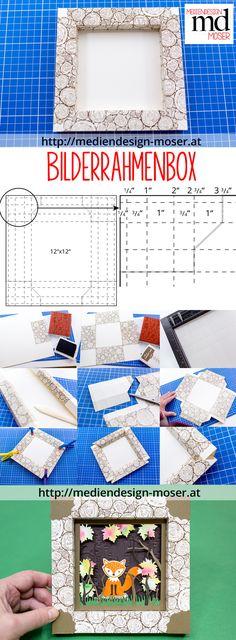 Einen Papier-Bilderrahmen in Holzoptik (mit dem Hintergrundstempel Tree Rings von Stampin'Up!) herstellen. Eine Bastelidee von Brigitte Baier-Moser - Mediendesign Moser
