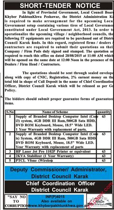 local council board kpk peshawar tender notice for supply of computers and  miscellaneous items