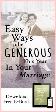 Easy Ways To Be Generous This Year In Your Marriage {FREE E-BOOK} --- I recently celebrated my first wedding anniversary. Having dated my husband for four years before marriage, we knew each other well. One thing was certain: my dads extremely thrifty spending habits stuck with me.… Read More Here http://unveiledwife.com/easy-ways-to-be-generous-through-out-the-year-free-e-book/ - Marriage, Love