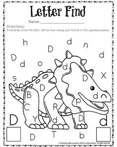 Letter Find worksheet for kindergarten and preschool. Great for letter recognition and counting. Dinosaurs Preschool, Preschool Literacy, Preschool Education, Preschool Letters, Letter Activities, Preschool Lessons, Kindergarten Worksheets, Kindergarten Classroom, Learning Activities