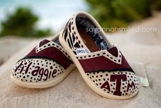 SIZE T5  Texas A Baby TOMS Shoes  Aggie Maroon by SavannahSmiled, $65.00
