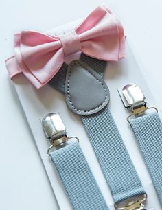 Suspenders and Bow Tie Set -- Gray / Grey Suspenders -- Blush Pink Bow Tie -- Ring Bearer Outfit. SIZES - Baby to Boy by armoniia on Etsy https://www.etsy.com/listing/227376046/suspenders-and-bow-tie-set-gray-grey