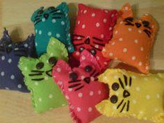 Colourful Rainbow Fabric Cats