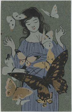 """Woman with Butterflies from the series""""Gold Color, Silver Paint"""" (Kin'iro Ginsai) 蝶 金色銀彩より  Japanese Late Meiji era cancelled 1907 Hashimoto Kunisuke (Japanese, 1884–1953), Publisher Japanese Postcard"""