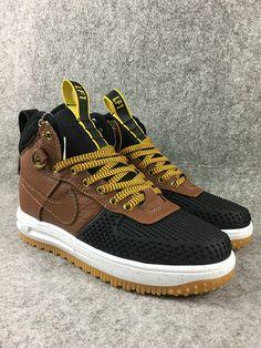 f68053727310eb Size 8 NIKE LUNAR FORCE 1 DUCKBOOT BLACK LIGHT BRITISH TAN GOLD Popular  Sneakers