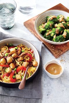 If using a crown of broccoli, trim into florets and place in a steamer basket over a saucepan filled about halfway with boiling water. Cover and steam 4 minutes or until the florets are crisp-tender. Add a little crushed red pepper to the sauce if you'd like a little heat.Serve alongside Tofu and Vegetable Lo Mein.