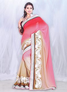 Enticing #Pink Faux #Georgette #Saree