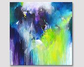 Original large XL abstract painting, abstract art, modern painting, canvas painting, yellow green, dark blue purple acrylic painting