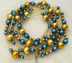 Gold Blue Vintage Mercury Glass Garland Beads Bottle Brush Xmas Tree Ornaments