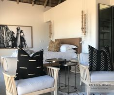 Keeping To Natural, Neutral Colours In Your Design, Can Help Create A Relaxing Atmosphere In Any Space.  In this Cocoa Bean Bedroom, We Kept To A Classic Black And White Colour Pallet, Keeping the design Clean Elegant and Timeless yet with an African Inspired Look.  #CocoaBeanInteriorDesign #cocoabean  #interiordesign #designideas #interiordesignideas #design #bushlodge #lodgedesign #africanvilla #designerhospitality