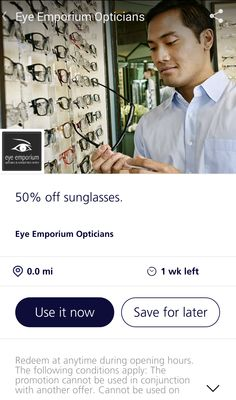 Find us on O2 Priority!  Get 50% OFF sunglasses at all Eye Emporium and John High branches!