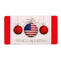 Patriotic Christmas gift tags Label