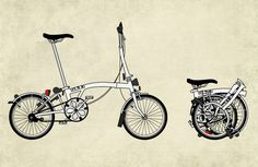 Brompton Bicycle Art Print, Brompton Cycle, the worlds most popular folding bicycle.
