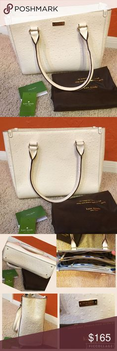 Kate Spade hand bag Quinn bone. 💯 % authentic Kate Spade Quinn head in the sand bone. Interior is in pristine condition the exterior has some small marks some wear on 2 on the corners. Over all in very good  condition feel free to ask me any questions that you have also fee free to send me your best offer I will only consider reasonable offers also bundle your favorite items to maximize your savings. ❌ no trades❌ kate spade Bags Satchels