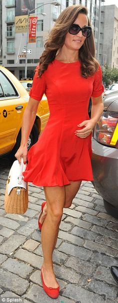 pippa middleton + red dress. Love the matching red flats!