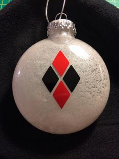Harley Quinn Christmas Ornament by DJsDecals on Etsy White Glitter, Favorite Person, Dc Universe, Harley Quinn, Vinyl Decals, Christmas Bulbs, Holiday Decor, Handmade, Stuff To Buy