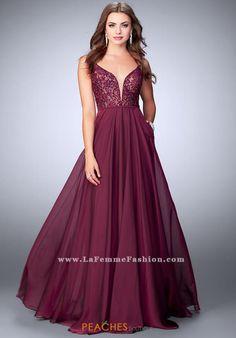 La Femme Lace A Line Dress 23964