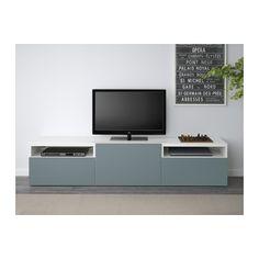 """BESTÅ TV unit - white/Valviken gray-turquoise, drawer runner, soft-closing, 70 7/8x15 3/4x15 """" - IKEA"""