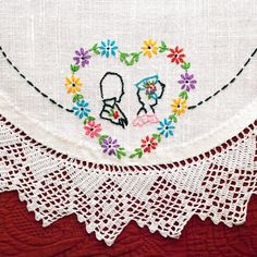 Vintage Linen Scarf Doily Hand Embroidered by LovelyLinensandMore, $11.00