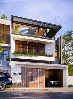 Architect Design House, Duplex House Design, Architecture Design, Modern Exterior House Designs, Modern House Design, Exterior Design, Japan House Design, New Kitchen Interior, House Elevation