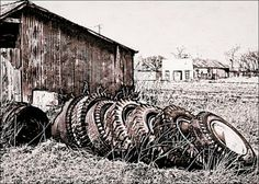 Google+ Dennis Fehler -- old tires behind the Parlor...