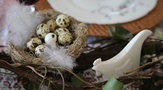Easter White Cottage, Easter, Table Decorations, Food, Wood Grain, Easter Activities, Essen, Meals, Yemek
