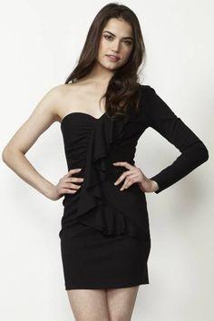 Parker Ruffle One Sleeve Dress in Black