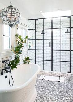 Magnificent Bathroom Design with Unique Shower Doors Bad Inspiration, Bathroom Inspiration, Furniture Inspiration, Interior Inspiration, Dream Bathrooms, Beautiful Bathrooms, Serene Bathroom, Bathtub Dream, Bathroom Black