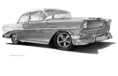 """""""56 Chevy"""" Graphite Pencil on Paper. 11x17. I want one. It seems that the BelAir was the most popular cars of its day. I drew this over a period three or four shows and had person after person tell me they owned a 1953 to 1958 Chevy BelAir before they had it sold/wrecked/stolen/impounded. And I want one. The trim on this car really set it apart from all others. Chevrolet was on top of their game in this era. This drawing is great for Chevy fanboys."""
