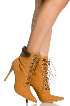 Camel Faux Nubuck Lace Up Pointed Toe Booties