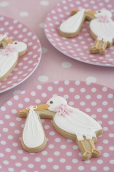 Charming, as usual! ~ Baby Shower Stork Cookies by @peggyporschen