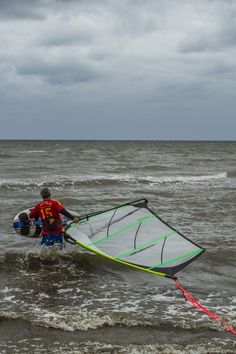 My dad heading out in the Chesapeake bay to get some windsurfing in.