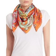 Lauren Ralph Lauren Paisley Scarf ($27) ❤ liked on Polyvore featuring accessories, scarves, orange, paisley shawl, orange silk scarves, silk shawl, orange scarves and lauren ralph lauren
