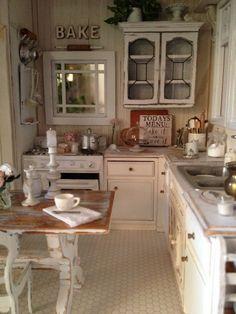 shabby chic miniature kitchen 1:12