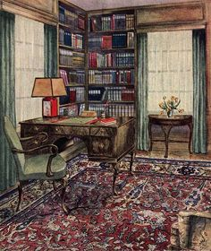 Image result for 1800 office library parlor