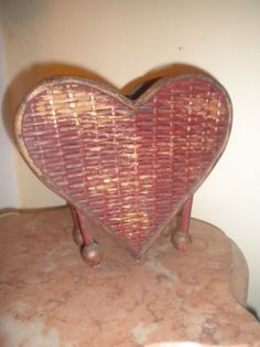 Rare Antique Heart Shaped Wicker Basket / Vase Circa 1910