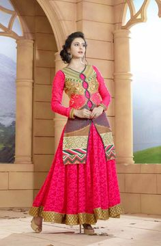 Buy Online Designer Suit or shuits Rani Pink Color, Bandhani Jacquard and Santoon material, Nazneen dupattas, Ceremonial Wear, partywear, kitty party wear for women, Anarkali Suits, Anarkali suit, shuits for women.. We have large range of Anarkali suits in our website with the best pricing and unique designs shipping to (UK, USA, India, Germany, UAE, Canada, Singapore, Australia, Mauritius, New Zealand) world wide.