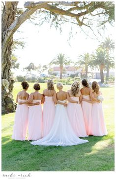 Montecito Country Club Wedding - pink bridesmaids dresses