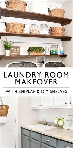 Budget Laundry Room Makeover with DIY Shiplap and Stained Shelves. Budget Laundry Room Makeover with DIY Shiplap and Stained Shelves. Click The Link For See Laundry Room Organization, Laundry Room Design, Laundry Storage, Laundry Rooms, Diy Wood Stain, Laundry Cabinets, Diy Cabinets, Diy Storage, Storage Ideas