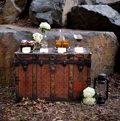 Harry Potter party drink table on an old vintage steam trunk.
